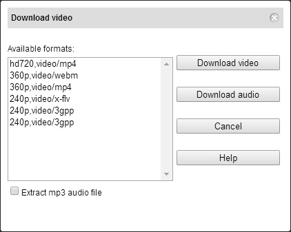 Youtube Video download format Dialog