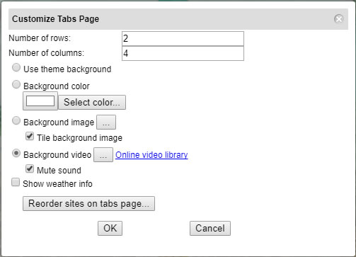 Customizable New Tab Page